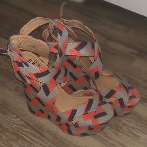 Shoes - Tribal Print Wedges